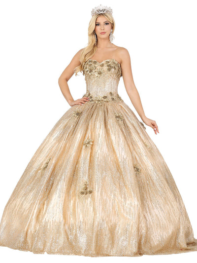 Floral Applique Strapless Glitter Ball Gown by Dancing Queen 1533