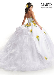 Floral Applique Strapless Quinceanera Dress by Alta Couture MQ3033-Quinceanera Dresses-ABC Fashion