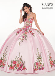 Floral Applique Strapless Quinceanera Dress by Mary's Bridal MQ2066-Quinceanera Dresses-ABC Fashion