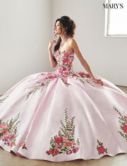 Floral Applique Strapless Quinceanera Dress by Mary's Bridal MQ2066