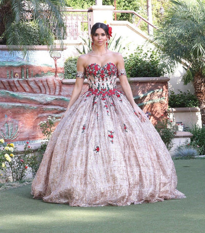 Floral Applique Sweetheart Ball Gown by Dancing Queen 1475