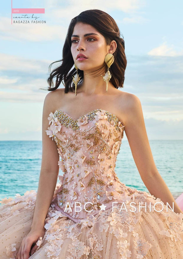 Floral Beaded 2-Piece Quinceanera Dress by Ragazza Fashion D08-508