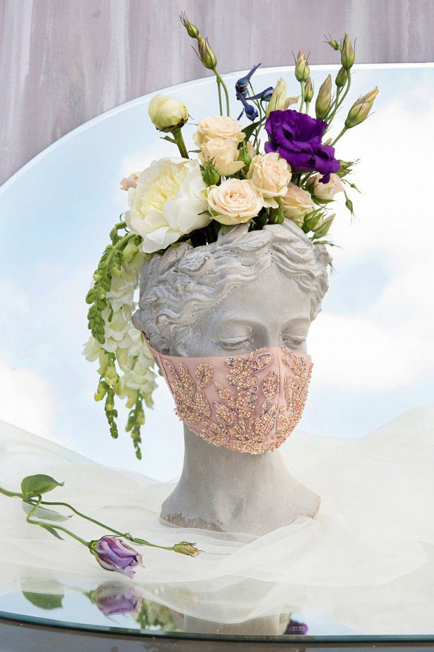 Floral Beaded Rose Gold Fashion Face Masks (3-Pack)