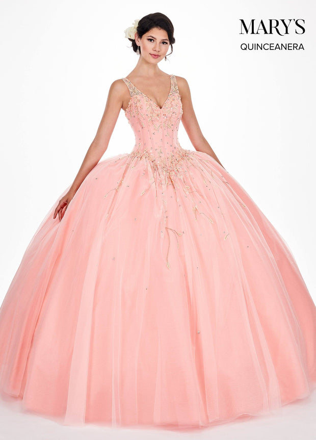 Floral Beaded Sleeveless Quinceanera Dress by Mary's Bridal MQ2052-Quinceanera Dresses-ABC Fashion