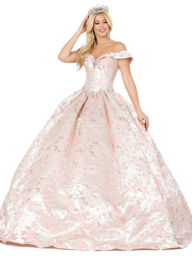 Floral Brocade Off Shoulder Ball Gown by Dancing Queen 1445