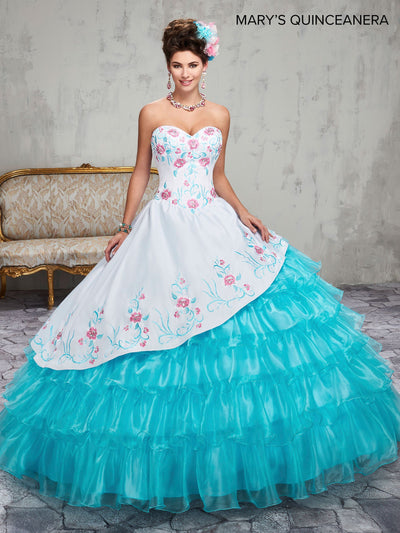 Floral Charro Quinceanera Dress by Mary's Bridal M4Q2015-Quinceanera Dresses-ABC Fashion
