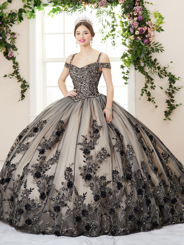 Floral Cold Shoulder Quinceanera Dress by House of Wu 26961