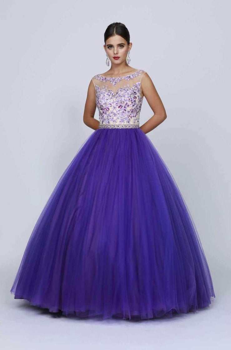 Floral Embroidered Bodice Ball Gown with Keyhole Back by Juliet 360-Quinceanera Dresses-ABC Fashion