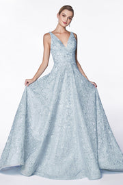 Floral Embroidered Gown with Glitter Accents by Cinderella Divine CK834-Long Formal Dresses-ABC Fashion