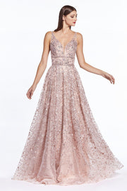 Floral Embroidered Long A-line Dress by Cinderella Divine CR840-Long Formal Dresses-ABC Fashion