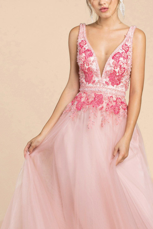 Floral Embroidered Long A-line Tulle Dress by Cinderella Divine A0072