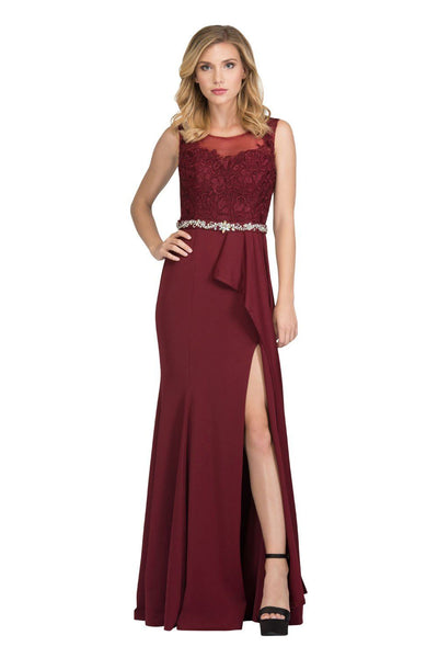 Floral Embroidered Long Illusion Dress with Slit by Star Box 17277-Long Formal Dresses-ABC Fashion