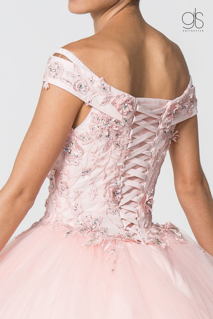 Floral Embroidered Off Shoulder Ball Gown by Elizabeth K GL2802-Quinceanera Dresses-ABC Fashion