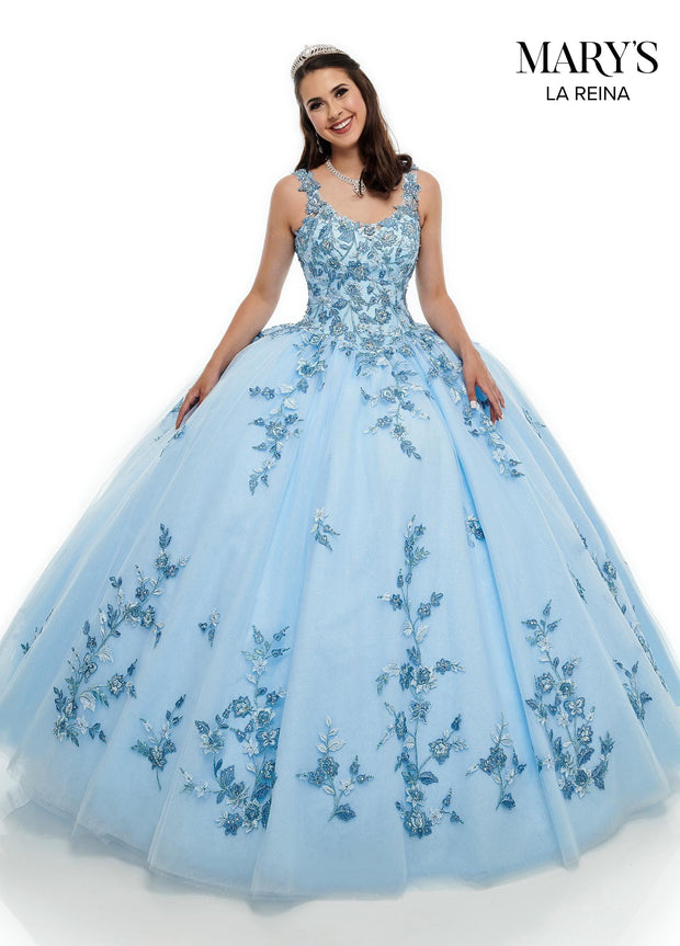Floral Embroidered Quinceanera Dress by Mary's Bridal MQ2102-Quinceanera Dresses-ABC Fashion