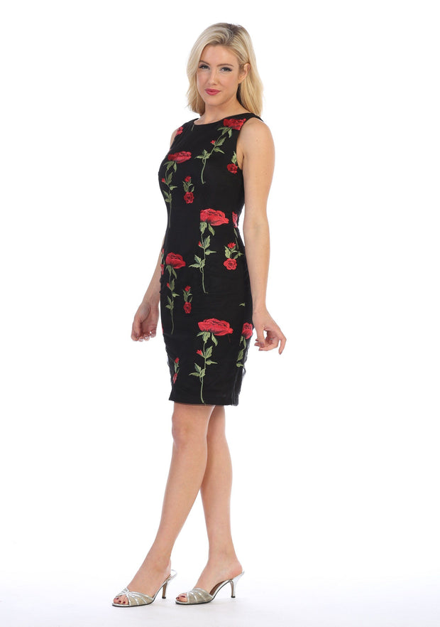 Floral Embroidered Short Sleeveless Dress by Celavie 6336-Short Cocktail Dresses-ABC Fashion