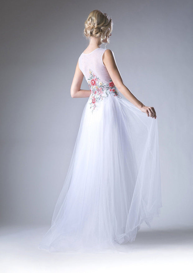 Floral Embroidered Sleeveless Gown by Cinderella Divine HW15-Long Formal Dresses-ABC Fashion