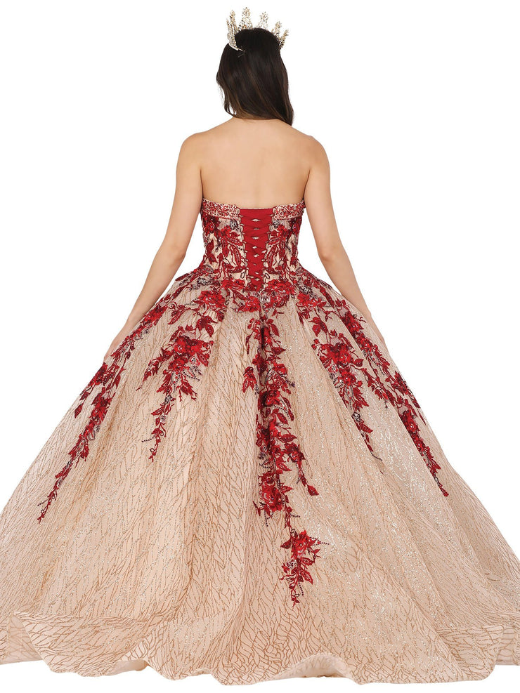 Floral Embroidered Strapless Ball Gown by Dancing Queen 1468