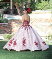 Floral Embroidered Strapless Ball Gown by Dancing Queen 1541