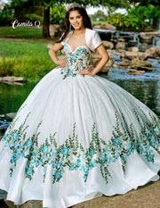 Floral Embroidered Strapless Lace Quinceanera Dress by Camila Q Q1012-Quinceanera Dresses-ABC Fashion