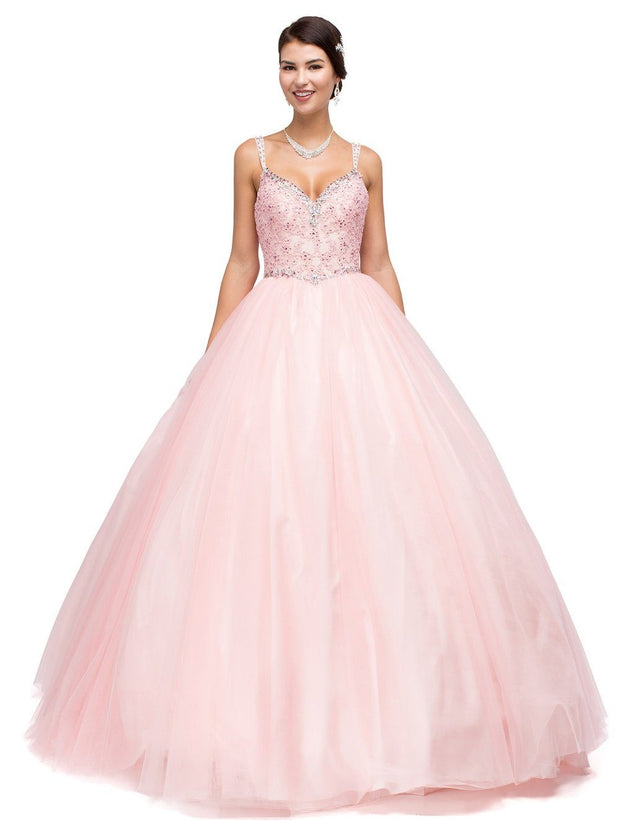 Floral Embroidered V-Neck Ball Gown by Dancing Queen 1138-Quinceanera Dresses-ABC Fashion