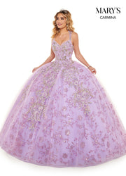 Floral Glitter Lace Quinceanera Dress by Mary's Bridal MQ1073