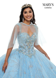 Floral Glitter Quinceanera Dress by Mary's Bridal MQ1063-Quinceanera Dresses-ABC Fashion