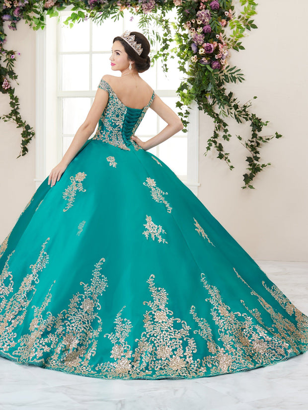 Floral Glitter V-Neck Quinceanera Dress by House of Wu 26956