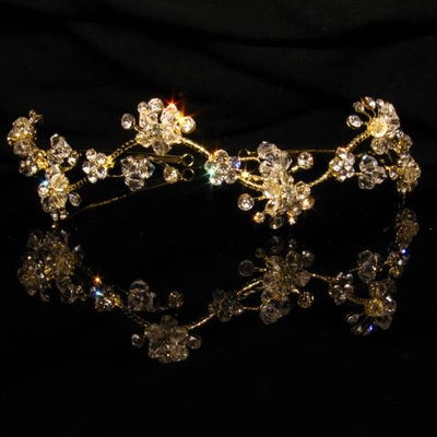 Floral Gold Tiara with Crystals and Clear Stones - T026-Quinceanera Tiaras-ABC Fashion