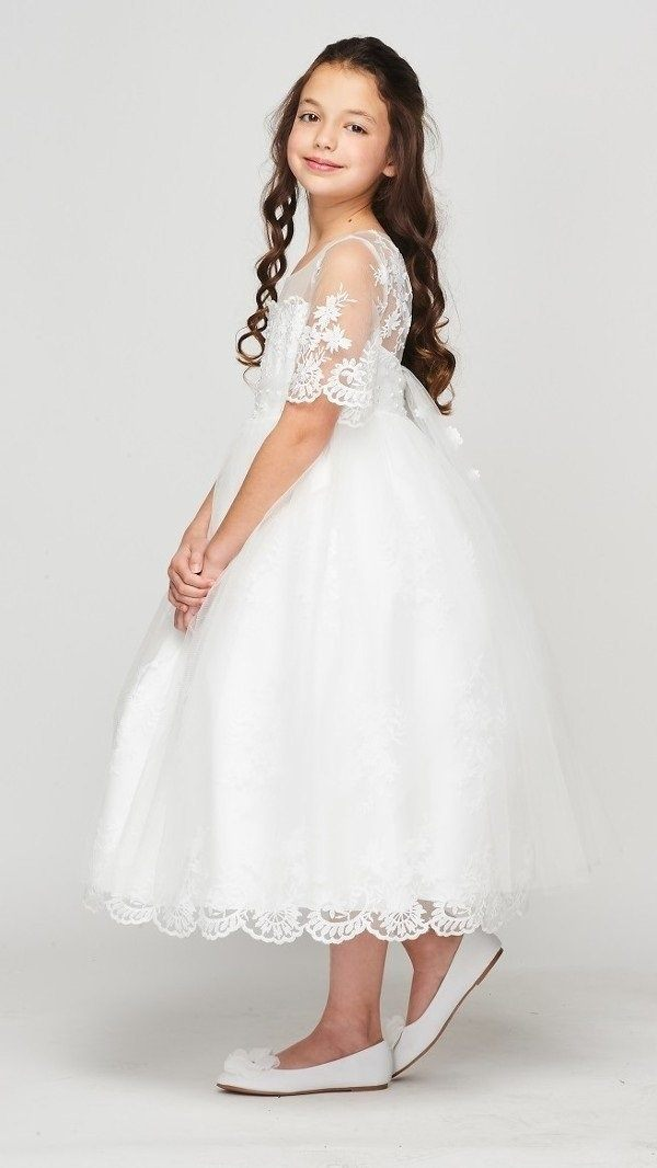 Floral Lace Girls Mid Sleeve Dress by Cinderella Couture 5092