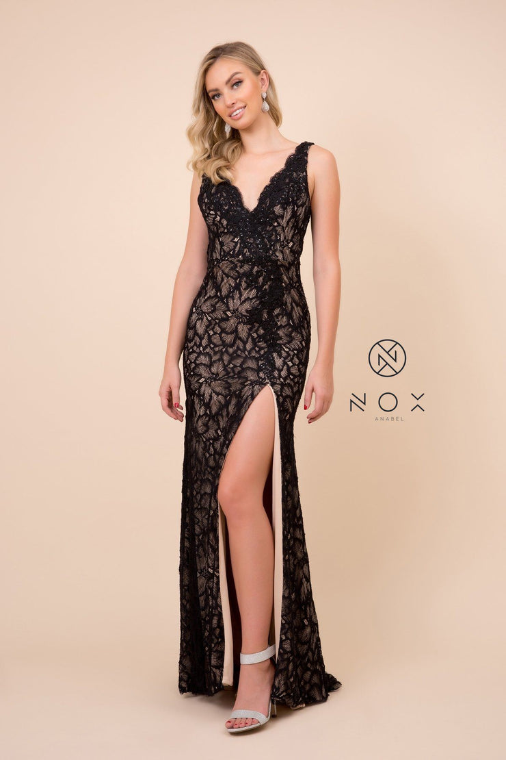 Floral Lace Long Fitted V-Neck Dress by Nox Anabel E374