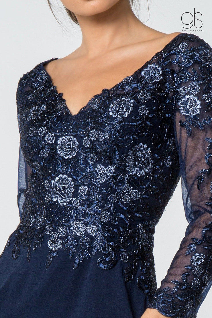 Floral Lace Long V-Neck Dress with Sleeves by Elizabeth K GL2825-Long Formal Dresses-ABC Fashion