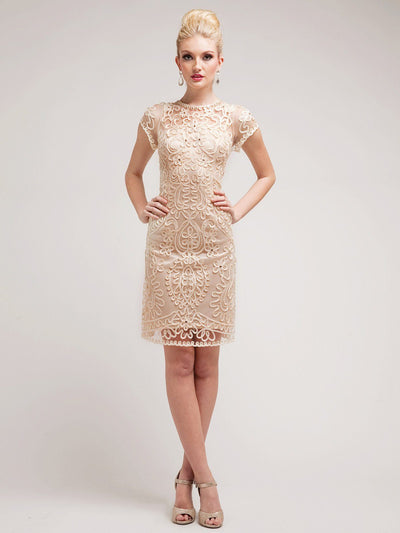 Floral Lace Overlay Short Dress by Cinderella Divine 1928-Short Cocktail Dresses-ABC Fashion