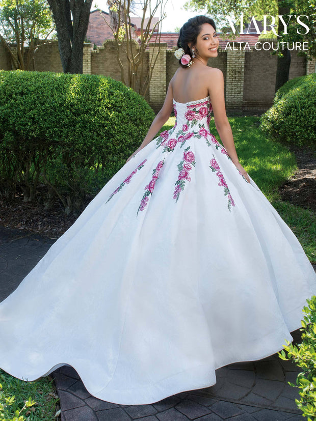 Floral Lace Strapless Quinceanera Dress by Alta Couture MQ3014-Quinceanera Dresses-ABC Fashion
