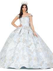 Floral Print Off Shoulder Ball Gown by Dancing Queen 1433