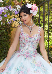 Floral Print Quinceanera Dress by Mori Lee Valentina 34033