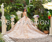 Floral Print V-Neck Quinceanera Dress by Ragazza Fashion DV32-532-Quinceanera Dresses-ABC Fashion