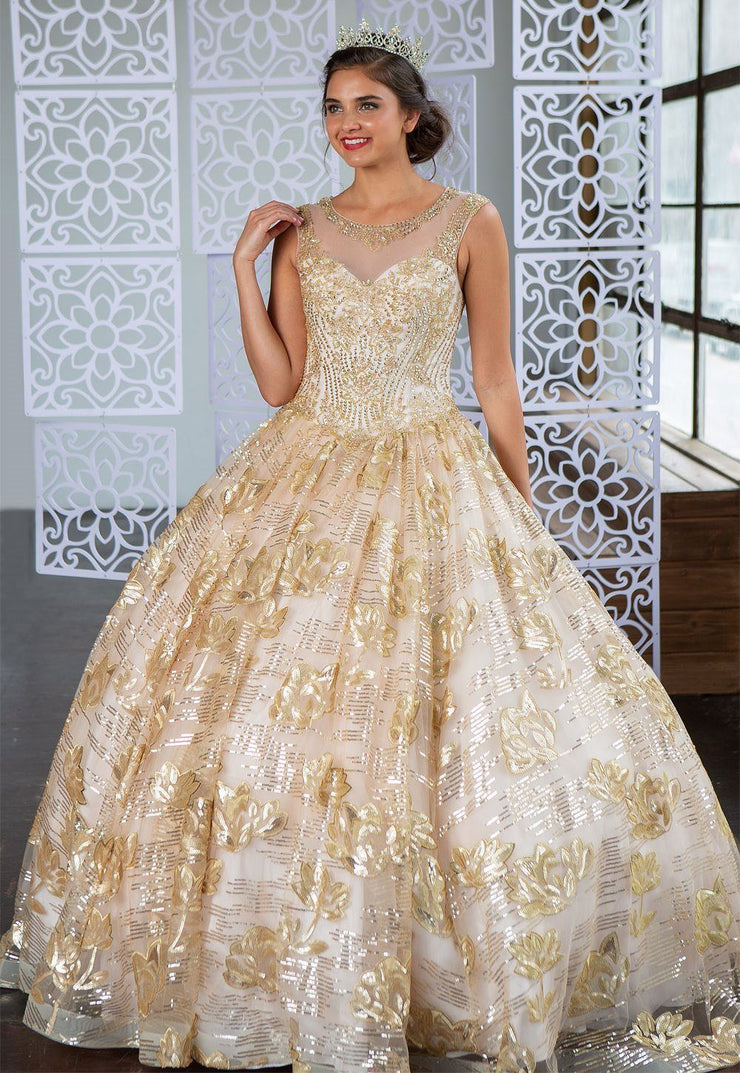 Floral Sequin Illusion Quinceanera Dress by Calla KY77239X-Quinceanera Dresses-ABC Fashion