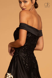 Floral Sequin Long Off the Shoulder Dress by GLS Gloria GL2542-Long Formal Dresses-ABC Fashion