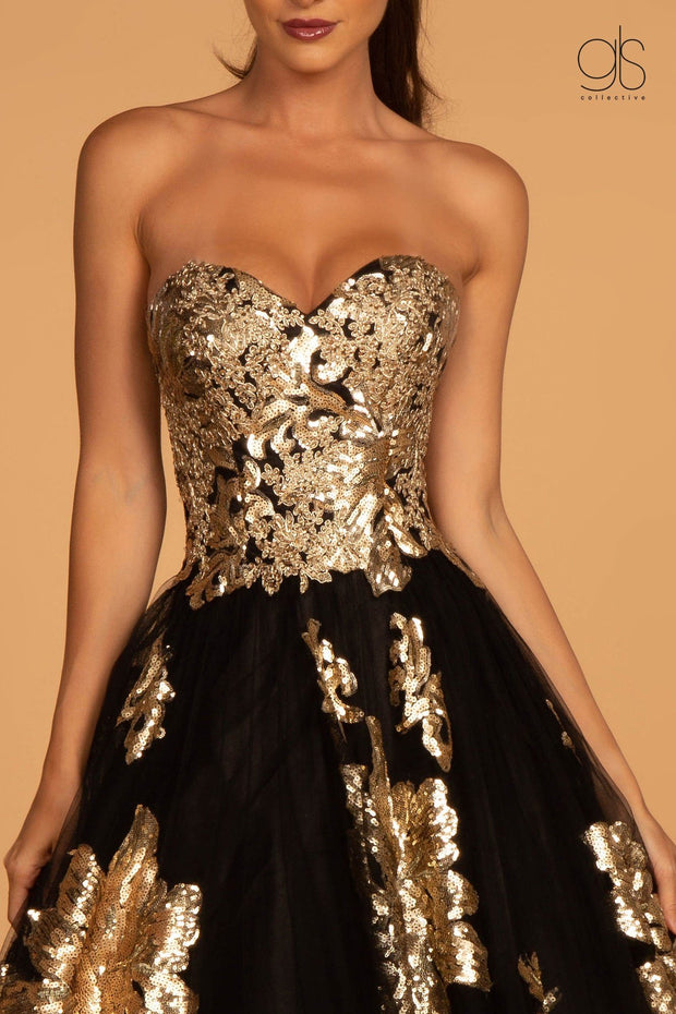 Floral Sequin Long Strapless Dress by GLS Gloria GL2654-Long Formal Dresses-ABC Fashion