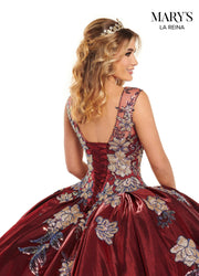 Floral Sequin Satin Quinceanera Dress by Mary's Bridal MQ2117
