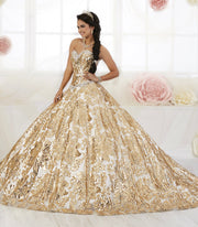 Floral Sequin Strapless Quinceanera Dress by House of Wu 26909-Quinceanera Dresses-ABC Fashion