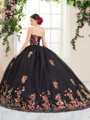 Floral Sequin Strapless Quinceanera Dress by House of Wu 26965