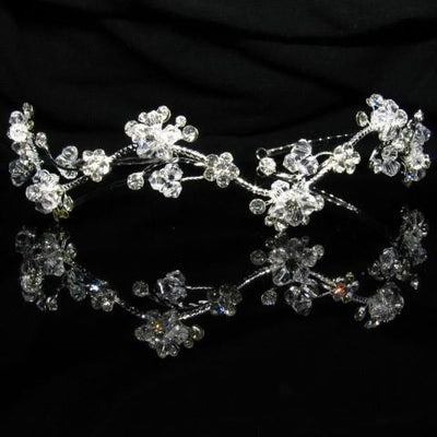 Floral Silver Tiara with Crystals and Clear Stones - T018-Quinceanera Tiaras-ABC Fashion