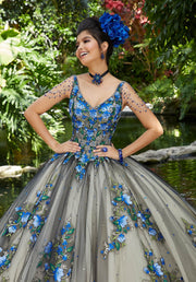 Floral V-Neck Quinceanera Dress by Mori Lee Valentina 34016-Quinceanera Dresses-ABC Fashion