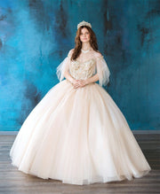Flutter Sleeve Quinceanera Dress by Calla KY738001