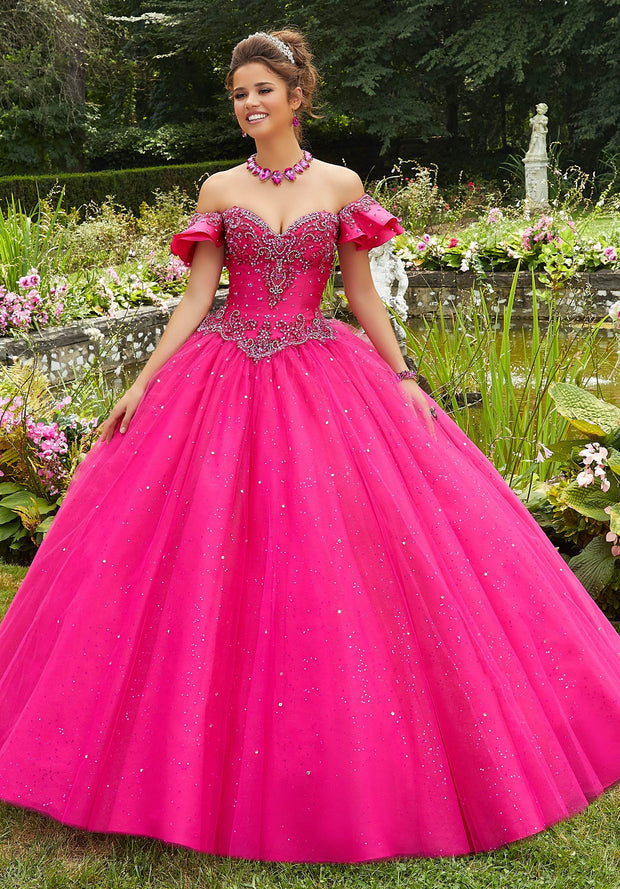 Flutter Sleeve Quinceanera Dress by Mori Lee Valencia 60109-Quinceanera Dresses-ABC Fashion