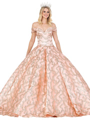 Folded Off Shoulder Glitter Print Ball Gown by Dancing Queen 1450