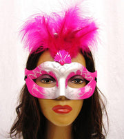 Fuchsia and Silver Masquerade Masks with Feathers-Masquerade Masks-ABC Fashion