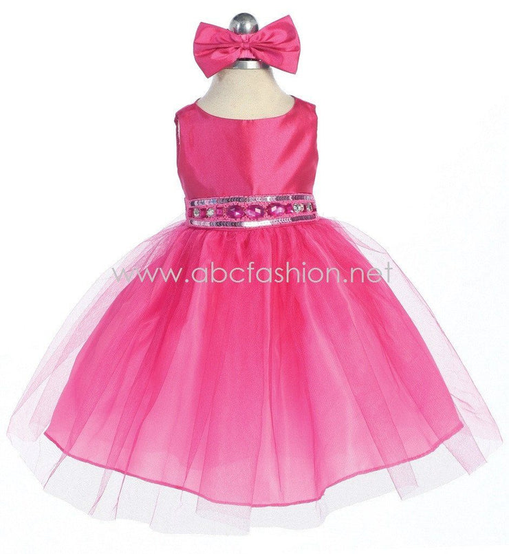 Fuchsia Baby Girl Dress with Tulle Skirt - 10 Colors-Girls Formal Dresses-ABC Fashion