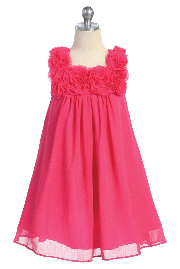 Fuchsia Short Girls Dresses with Rosettes - 6 Colors-Girls Formal Dresses-ABC Fashion